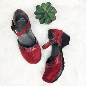 {Dansko} Red Suede Croc Sally Mary Jane Clog, 38